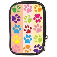 Colorful Animal Paw Prints Background Compact Camera Cases by Simbadda