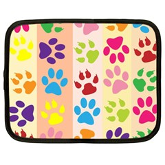 Colorful Animal Paw Prints Background Netbook Case (xxl)  by Simbadda