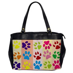 Colorful Animal Paw Prints Background Office Handbags by Simbadda
