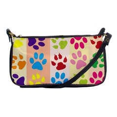Colorful Animal Paw Prints Background Shoulder Clutch Bags by Simbadda