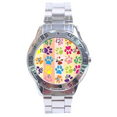 Colorful Animal Paw Prints Background Stainless Steel Analogue Watch by Simbadda