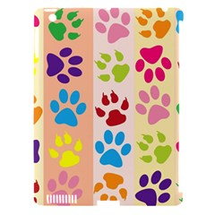 Colorful Animal Paw Prints Background Apple Ipad 3/4 Hardshell Case (compatible With Smart Cover) by Simbadda