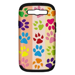 Colorful Animal Paw Prints Background Samsung Galaxy S Iii Hardshell Case (pc+silicone) by Simbadda