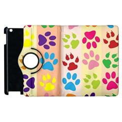 Colorful Animal Paw Prints Background Apple Ipad 3/4 Flip 360 Case by Simbadda