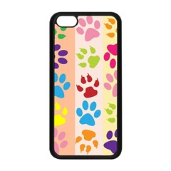 Colorful Animal Paw Prints Background Apple Iphone 5c Seamless Case (black) by Simbadda