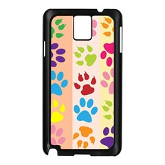Colorful Animal Paw Prints Background Samsung Galaxy Note 3 N9005 Case (black) by Simbadda