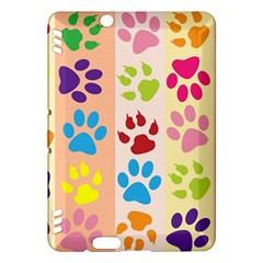 Colorful Animal Paw Prints Background Kindle Fire Hdx Hardshell Case by Simbadda
