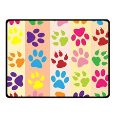 Colorful Animal Paw Prints Background Double Sided Fleece Blanket (small)  by Simbadda