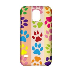 Colorful Animal Paw Prints Background Samsung Galaxy S5 Hardshell Case  by Simbadda