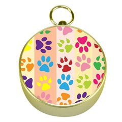 Colorful Animal Paw Prints Background Gold Compasses by Simbadda