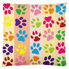 Colorful Animal Paw Prints Background Large Flano Cushion Case (two Sides) by Simbadda
