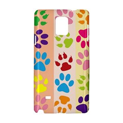 Colorful Animal Paw Prints Background Samsung Galaxy Note 4 Hardshell Case by Simbadda