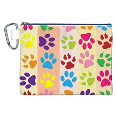 Colorful Animal Paw Prints Background Canvas Cosmetic Bag (xxl) by Simbadda