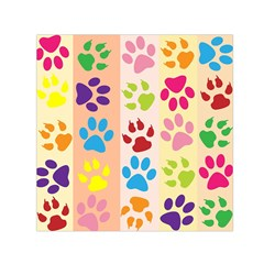 Colorful Animal Paw Prints Background Small Satin Scarf (square) by Simbadda