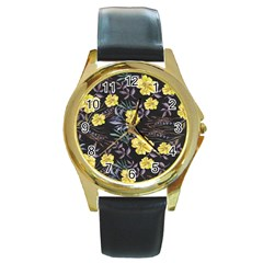 Wildflowers Ii Round Gold Metal Watch