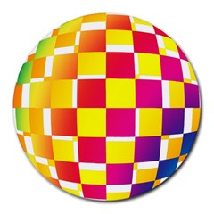 Squares Colored Background Round Mousepads by Simbadda