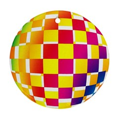 Squares Colored Background Round Ornament (two Sides) by Simbadda