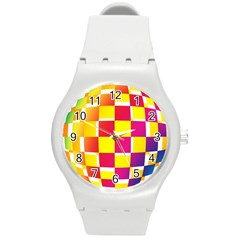 Squares Colored Background Round Plastic Sport Watch (m) by Simbadda