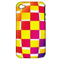 Squares Colored Background Apple Iphone 4/4s Hardshell Case (pc+silicone) by Simbadda