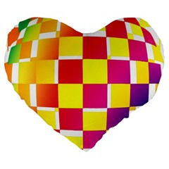 Squares Colored Background Large 19  Premium Heart Shape Cushions by Simbadda