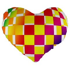 Squares Colored Background Large 19  Premium Flano Heart Shape Cushions by Simbadda