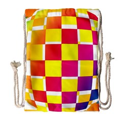 Squares Colored Background Drawstring Bag (large) by Simbadda