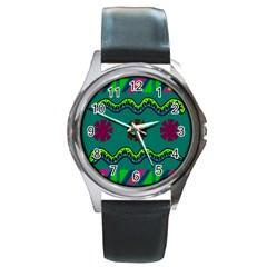 A Colorful Modern Illustration Round Metal Watch by Simbadda