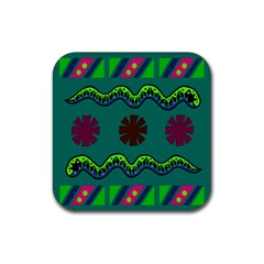 A Colorful Modern Illustration Rubber Square Coaster (4 Pack)  by Simbadda
