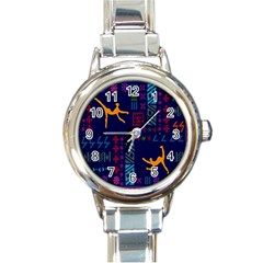 A Colorful Modern Illustration For Lovers Round Italian Charm Watch by Simbadda