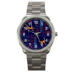 A Colorful Modern Illustration For Lovers Sport Metal Watch by Simbadda