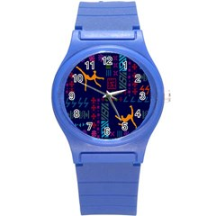 A Colorful Modern Illustration For Lovers Round Plastic Sport Watch (s) by Simbadda