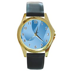 Abstract Blue Background Swirls Round Gold Metal Watch