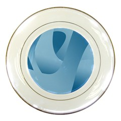 Abstract Blue Background Swirls Porcelain Plates by Simbadda