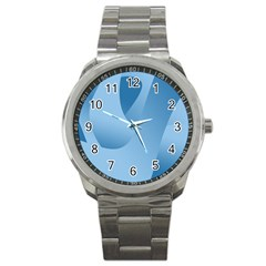 Abstract Blue Background Swirls Sport Metal Watch by Simbadda