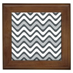 Shades Of Grey And White Wavy Lines Background Wallpaper Framed Tiles by Simbadda