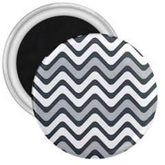 Shades Of Grey And White Wavy Lines Background Wallpaper 3  Magnets by Simbadda