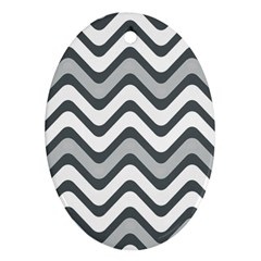 Shades Of Grey And White Wavy Lines Background Wallpaper Ornament (oval) by Simbadda