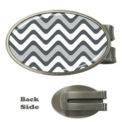 Shades Of Grey And White Wavy Lines Background Wallpaper Money Clips (oval)  by Simbadda