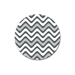 Shades Of Grey And White Wavy Lines Background Wallpaper Magnet 3  (round) by Simbadda
