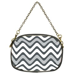 Shades Of Grey And White Wavy Lines Background Wallpaper Chain Purses (two Sides)  by Simbadda