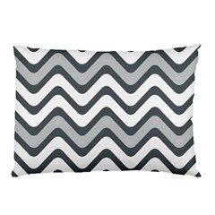 Shades Of Grey And White Wavy Lines Background Wallpaper Pillow Case by Simbadda