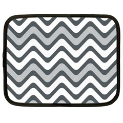 Shades Of Grey And White Wavy Lines Background Wallpaper Netbook Case (xxl)  by Simbadda