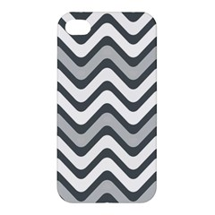 Shades Of Grey And White Wavy Lines Background Wallpaper Apple Iphone 4/4s Hardshell Case by Simbadda