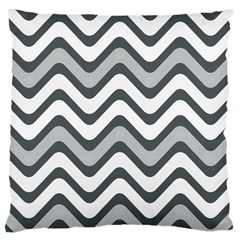 Shades Of Grey And White Wavy Lines Background Wallpaper Large Cushion Case (one Side) by Simbadda