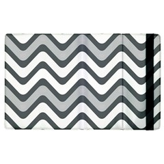 Shades Of Grey And White Wavy Lines Background Wallpaper Apple iPad 2 Flip Case