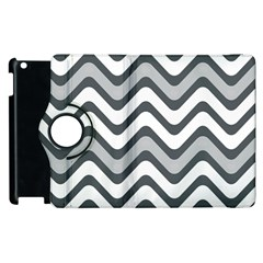 Shades Of Grey And White Wavy Lines Background Wallpaper Apple Ipad 2 Flip 360 Case by Simbadda
