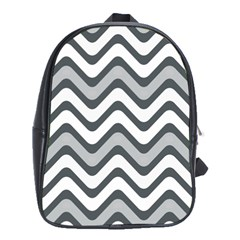 Shades Of Grey And White Wavy Lines Background Wallpaper School Bags (xl)  by Simbadda