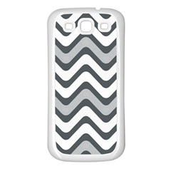 Shades Of Grey And White Wavy Lines Background Wallpaper Samsung Galaxy S3 Back Case (white) by Simbadda