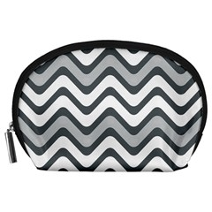 Shades Of Grey And White Wavy Lines Background Wallpaper Accessory Pouches (large)  by Simbadda