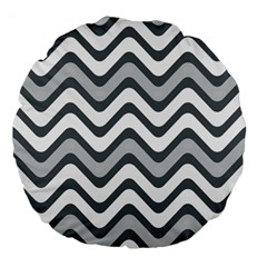 Shades Of Grey And White Wavy Lines Background Wallpaper Large 18  Premium Flano Round Cushions by Simbadda